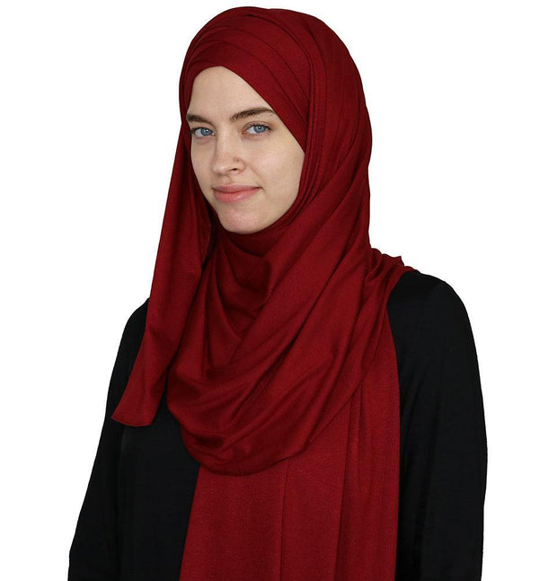 Modefa Instant Hijabs Red Modefa Instant Criss-Cross Jersey Hijab Shawl – Red