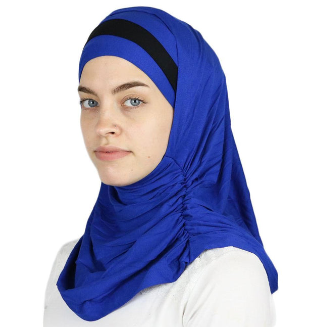 Modefa Instant Hijabs Royal Blue / Black Practical Instant Jersey Hijab B0008 Royal Blue