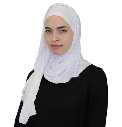 Modefa Instant Hijabs White Practical Instant Jersey Wrap Hijab BT1 White