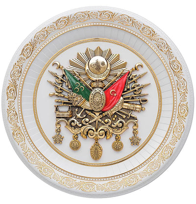Circular Frame Ottoman Coat of Arms 56cm White/Gold