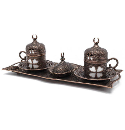Modefa Islamic Decor Copper Turkish Luxury 4 Piece Coffee Cup Set | Ottoman Style Tray with Sugar Bowl - Copper
