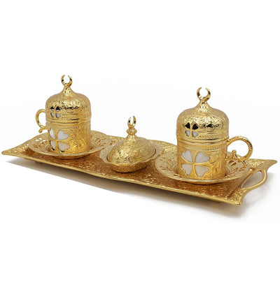 Modefa Islamic Decor Gold Turkish Luxury 4 Piece Coffee Cup Set | Ottoman Style Tray with Sugar Bowl - Gold