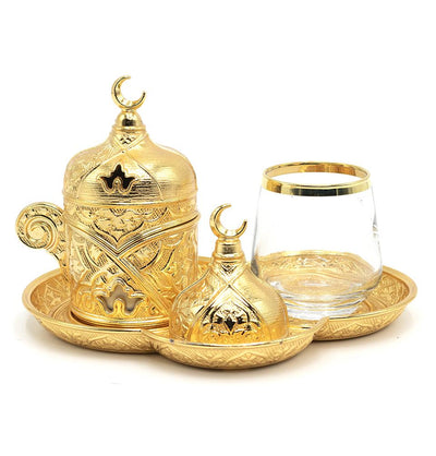 Modefa Islamic Decor Gold Turkish Luxury 4 Piece Coffee & Zamzam Water Cup Set | Ottoman Style Tray - Gold