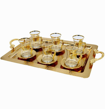 Modefa Islamic Decor Gold Turkish Luxury 7 Piece Tea Cup Set | Ottoman Style with Rectangular Tray - Gold