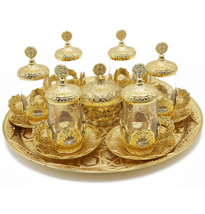 Modefa Islamic Decor Gold Turkish Luxury 8 Piece Tea Cup Set | Selcuk Star Design with Circular Tray - Gold