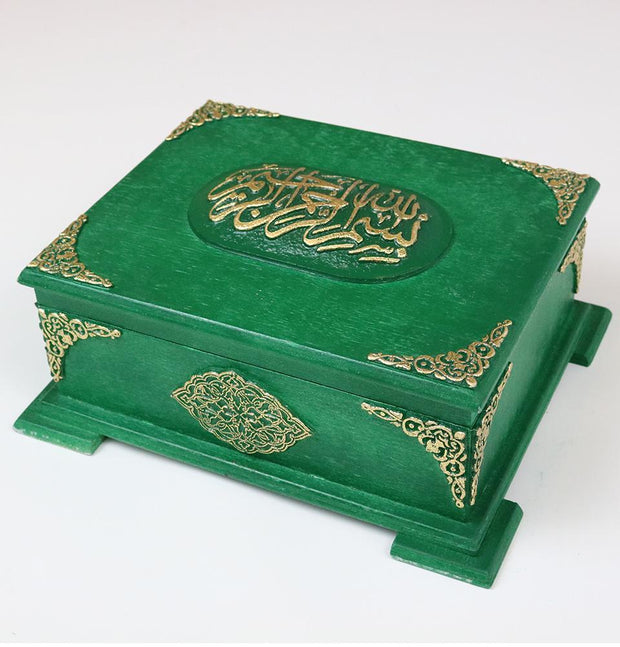 Handmade Wooden Luxury Quran Display Box with Quran - Green