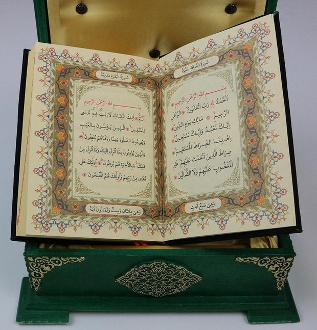 Modefa Islamic Decor Green Handmade Wooden Luxury Quran Display Box with Quran - Green