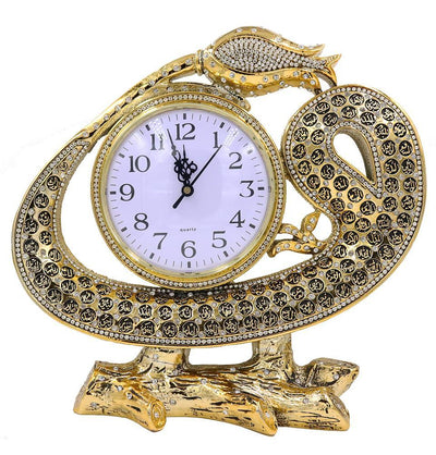 Islamic Table Decor Clock - Waw Tulip with 99 Names of Allah Gold
