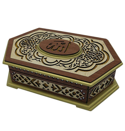 Modefa Islamic Decor Lasercut Elegant Wooden Quran Display Box with Quran - Style 1