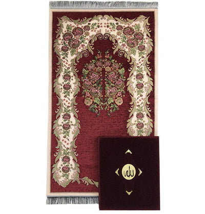 Modefa Islamic Decor Luxury Islamic Quran & Prayer Rug Gift Set 6 Pieces in Velvet Box - Red