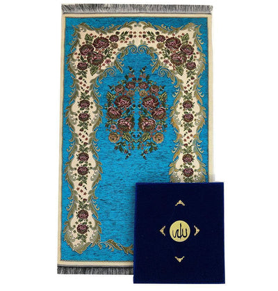 Modefa Islamic Decor Luxury Islamic Quran & Prayer Rug Gift Set 6 Pieces in Velvet Box - Royal Blue
