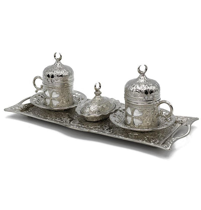 Modefa Islamic Decor Silver Turkish Luxury 4 Piece Coffee Cup Set | Ottoman Style Tray with Sugar Bowl - Silver