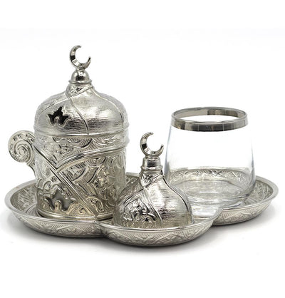 Modefa Islamic Decor Silver Turkish Luxury 4 Piece Coffee & Zamzam Water Cup Set | Ottoman Style Tray - Silver