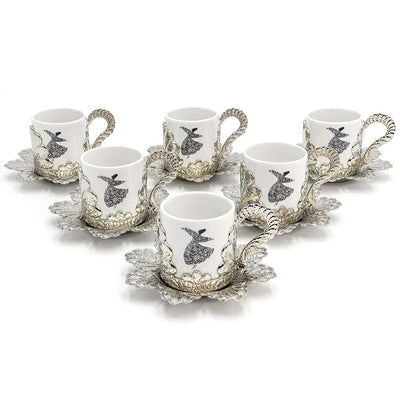 Modefa Islamic Decor Silver Turkish Luxury 6 Piece Coffee Cup Set | Ottoman Style with Dervish Artwork - Silver