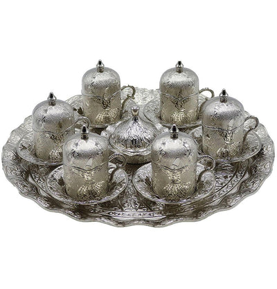 Modefa Islamic Decor Silver Turkish Luxury 8 Piece Coffee Cup Set | Ottoman Style with Dervish Engravings - Silver