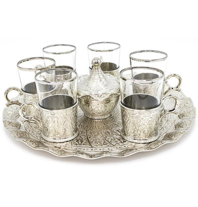 Modefa Islamic Decor Silver Turkish Luxury 8 Piece Large Tea Cup Set | Ottoman Style with Circular Tray - Silver