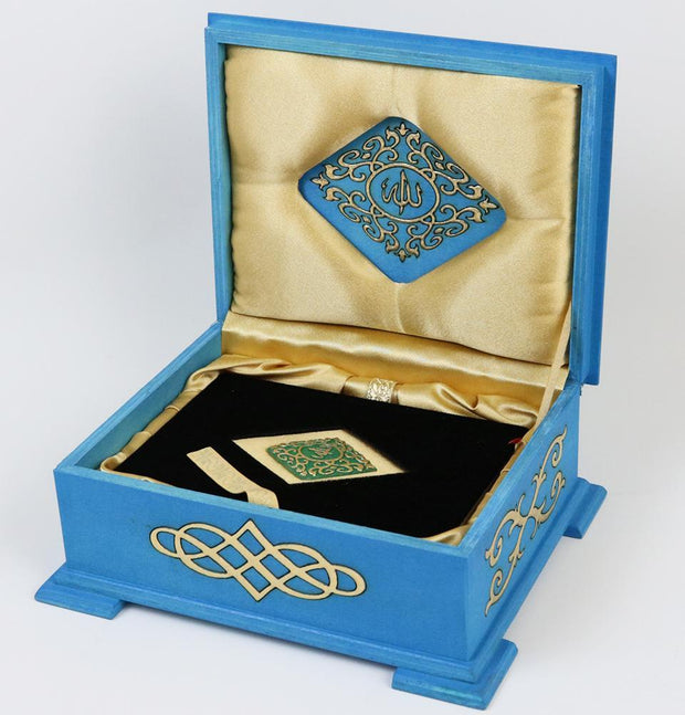 Modefa Islamic Decor Turquoise Handmade Wooden Luxury Quran Display Box with Quran - Turquoise
