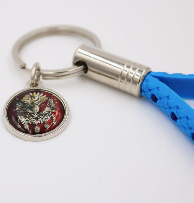 Modefa Keychain Light Blue Ottoman Emblem Loop Keychain Blue