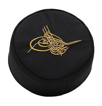 Islamic Men's Structured Kufi Hat- Ottoman Tughra Black