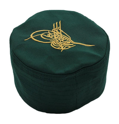 Modefa Kufi Islamic Men's Structured Kufi Hat- Ottoman Tughra Green