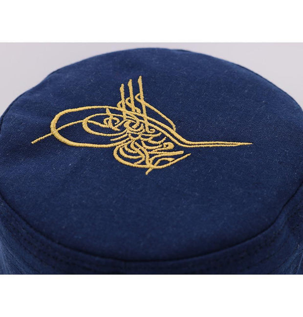 Modefa Kufi Islamic Men's Structured Kufi Hat- Ottoman Tughra Blue