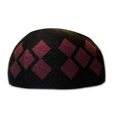 Modefa Islamic Men's Argyle Cotton Kufi Cap (Black/Red)