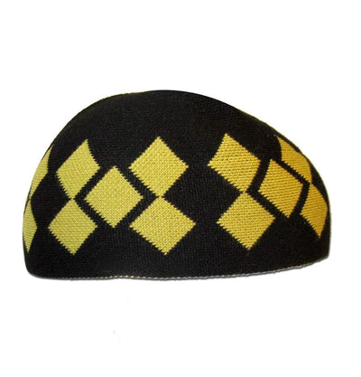Modefa Islamic Men's Argyle Cotton Kufi Cap (Black/Yellow)