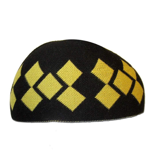 Modefa Kufi Modefa Islamic Men's Argyle Cotton Kufi Cap (Black/Yellow)