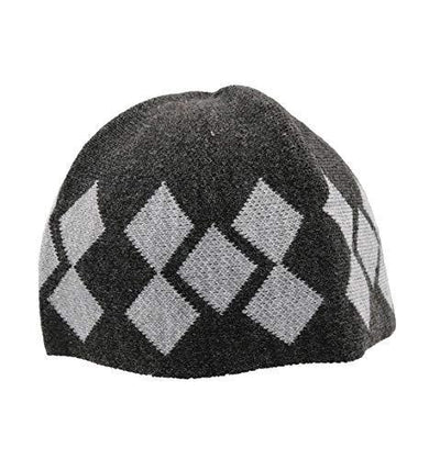 Modefa Islamic Men's Argyle Cotton Kufi Cap (Dark Gray/Gray)