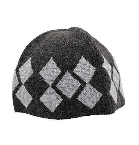 Modefa Kufi Modefa Islamic Men's Argyle Cotton Kufi Cap (Dark Gray/Gray)