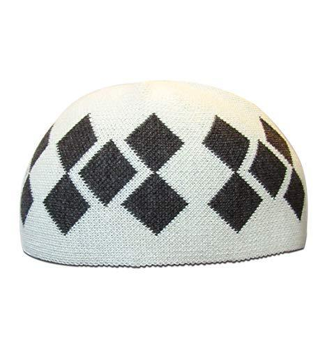 Modefa Islamic Men's Argyle Cotton Kufi Cap (Ivory/Gray)