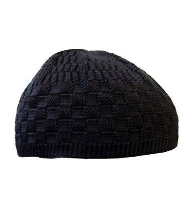 Modefa Islamic Men's Checkered Knit Kufi Cap (Black)