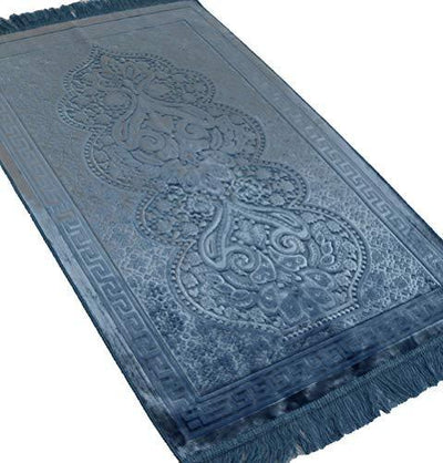 Modefa Luxury Velvet Islamic Prayer Rug - Steel Blue Paisley