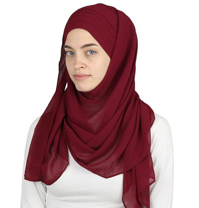 Modefa Maroon Red Practical Instant Chiffon Hijab Shawl CPS0062 Maroon