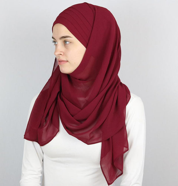 Practical Instant Chiffon Hijab Shawl CPS0062 Maroon