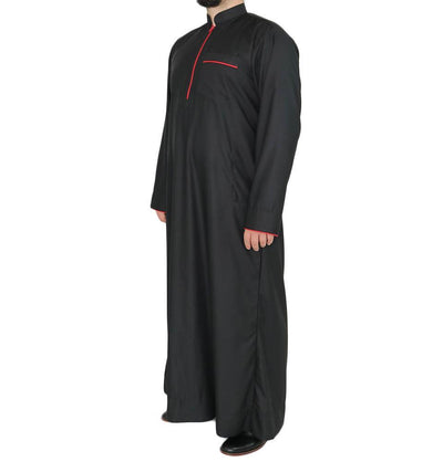 Modefa Men's Full Length Long Sleeve Islamic Thobe - Black & Red