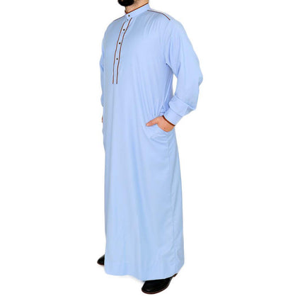 Modefa Men's Full Length Long Sleeve Islamic Thobe - Blue & Brown