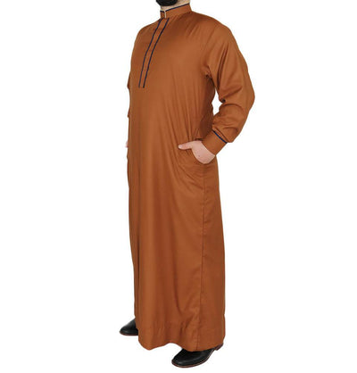 Modefa Men's Full Length Long Sleeve Islamic Thobe - Brown & Navy Blue