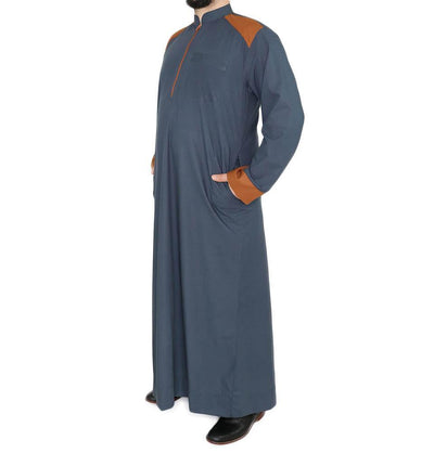 Modefa Men's Full Length Long Sleeve Islamic Thobe - Dark Gray & Brown