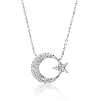 Women's Sterling Silver Islamic Necklace Crescent Moon & Star