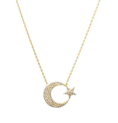Women's Sterling Silver Islamic Necklace Crescent Moon & Star - Gold