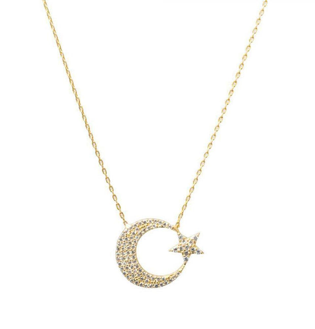Modefa Necklace Women's Sterling Silver Islamic Necklace Crescent Moon & Star - Gold
