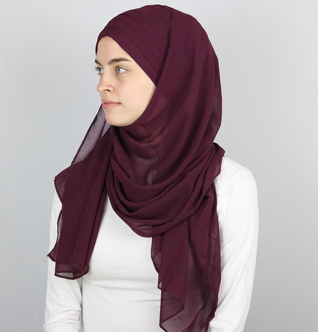 Practical Instant Chiffon Hijab Shawl CPS0062 Plum