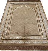 Modefa Prayer Rug Beige Plush Velvet Prayer Rug Simple Floral Beige