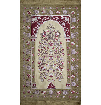 Modefa Prayer Rug Beige/Red/Pink Luxury Embroidered Islamic Prayer Rug Floral Arch - Beige & Red