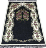 Modefa Prayer Rug Black Chenille Embroidered Floral Rose Islamic Prayer Mat - Black