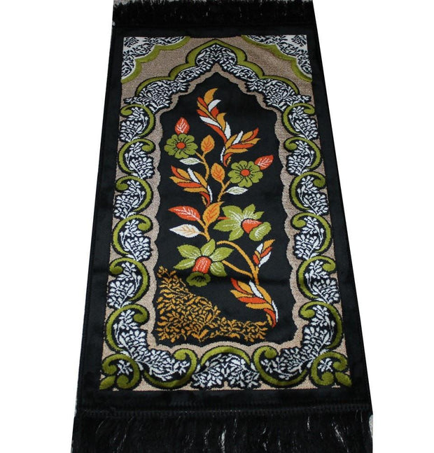 Modefa Prayer Rug Black Child Velvet Floral Islamic Prayer Rug - Black