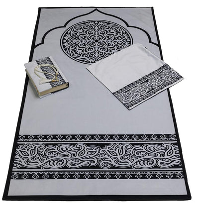 Modefa Prayer Rug Black/White Luxury Islamic Quran & Prayer Rug 4 Piece Gift Set - Black/White