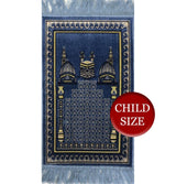 Modefa Prayer Rug Blue Child Velvet Islamic Prayer Rug - Blue with Kaba & Mosque