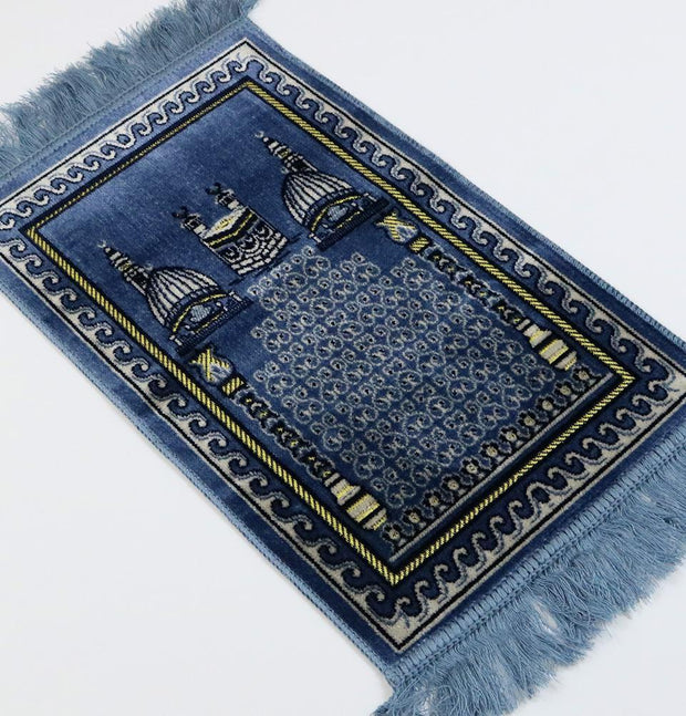 Child Velvet Islamic Prayer Rug - Blue with Kaba & Mosque